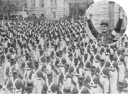 시청 앞에 집결한 육사생도들과 장도영 중장
