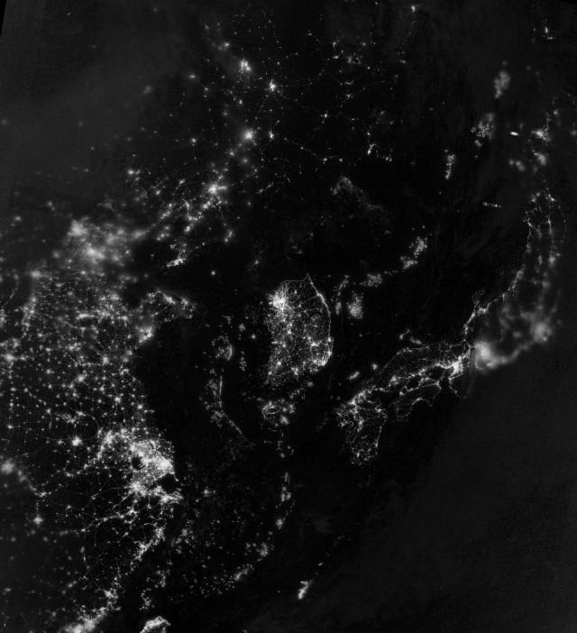 Satellite night view around Korean peninsula