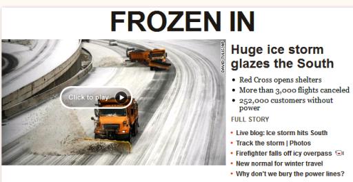 꽁꽁 얼어붙은 아틀란타, 2주 전의 교훈으로 재빨리 제설작업에 나섰다.