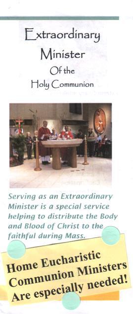 봉성체 봉사자를 구하는 Holy Family 성당의 brochure